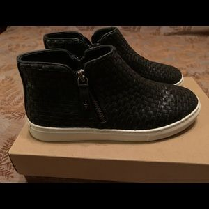 women shoes track new black leather 7.5